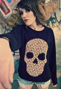 Image of Applique Daisy Print Floral Skull Black Jumper