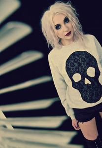 Image of Applique Black Lace Skull Gray Jumper