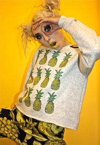 Image of Pineapple Fruit Print Gold Shoulder Stud Grey Jumper