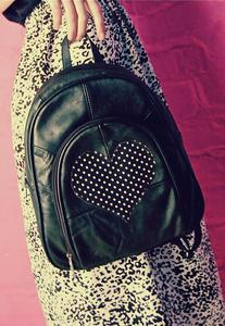 Image of Polka Dot Love Heart Real Leather Rucksack Backpack Bag