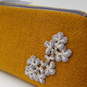 Image of Mustard Harris Tweed purse with  pale grey lichen