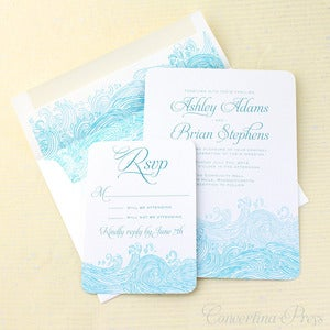 Image of Waves Beach Wedding Invitations - Sample