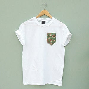 Image of Green Floral Pocket Tee by Patch Apparel 