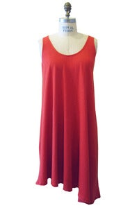 Image of Trapeze Dress in Tangerine Hemp Cotton Jersey
