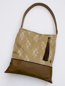 Image of -  S O L D - leather and lace tote
