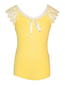 Image of Pretty girly lace cotton tank in sunshine YELLOW