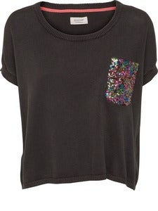 Image of Numph Becca khaki sequin pocket jumper