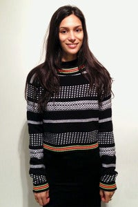 Image of knitted monochrome neon collar crop jumper
