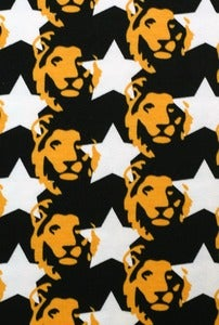 Image of Star Lion Black and Orange organic jersey (by the half metre)