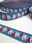 Image of Star Lion Blue and Red woven ribbon (by the metre)