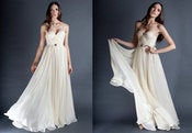 Image of Ivory Annie Wedding Gown Silk Hand Gathered Bustier Gown