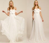 Image of Annie Wedding Gown Silk Hand Gathered Bustier Gown with Crystal Sash