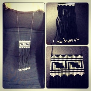 Image of Hand Beaded Fringe Necklace - Black and White