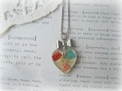 Image of Silver Resin Heart with Dried Flowers Necklace