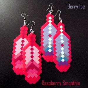 Image of 8-Bit Feather Fantasy Pink Earrings (More Colors)