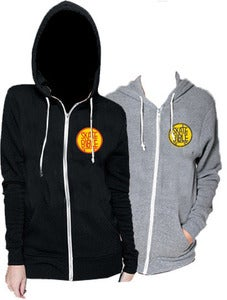 "Image of Limited Edition Black or Grey ""SkateBible"" hooded zippers."