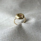 Image of sunken ring with ruby - vermeil