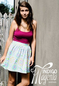 Image of Flat Front Gathered Skirt with Elastic Back - Mini (mid thigh)