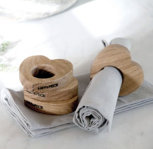 Image of Oak Heart napkin rings (Set of 4)