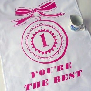 Image of You're The Best tea towel - raspberry pink
