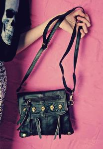 Image of Skull Stud Real Leather Black Tassel Bag