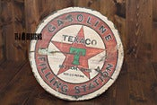 Image of Texaco Vintage Style Wooden Sign - 24&quot; Round - NEW
