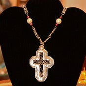 Image of Sterling silver and silver filigree cross necklace