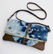 Image of - S O L D - hand bleached denim foldover bag with removable leather strap (a)