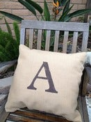 Image of Burlap Initial Pillow