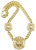 Image of MEDUSA 33 INCH Gold OVERLAY CUBAN LINK NECKLACE 3 HEAD CHAIN