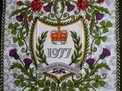 Image of 1977 Queen's Silver Jubilee on a tea towel