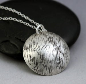 Image of Sterling Silver Disc Necklace - Grass Texture