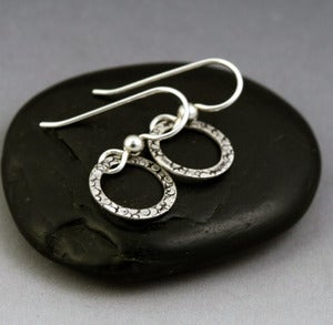Image of Mini Silver Hoop Earrings - Pebbles Texture