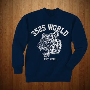 Image of 3525 WORLD CREWNECK (NAVY BLUE AND WHITE)