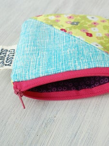 Image of Green/Pink Floral + Blue square zip pouch