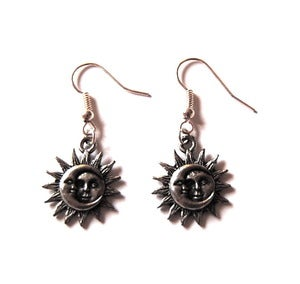 Image of Silver Sun and Moon Earrings