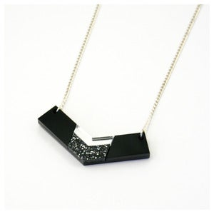 Image of Inlaid Chevron Necklace - Black