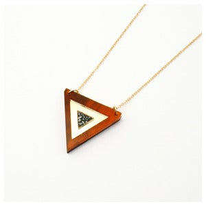 Image of Inlaid Triangle Necklace - Tortoiseshell
