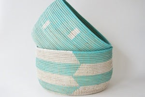 Image of Turquoise Knitting Basket Large {Assorted Patterns}