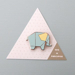 Image of Origami Elephant Brooch by Hug A Porcupine 