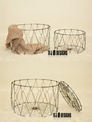 Image of Folding Laundry Baskets - Metal Vintage Style - Rust/Metal Color - Newborn Toddler