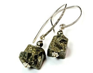Image of Golden Pyrite Nuggets and Sterling Silver Earrings