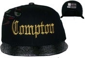 Image of Compton snakeskin Print Blackw/Gold Stitch Old School Eazy E NWA Snapback Hat
