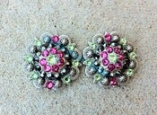 Image of Swarovski Rhinestone Conchos - Lime Green, Hot Pink and Jet