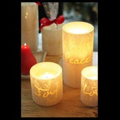 Image of Vance Kitira - Pearl Luminary - 'Peace',  'Love',  'Joy' Pillar Candles