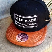 Image of Raw Caviar Brown Croc Print Bill Self Made Snapback