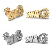 Image of Swag Gold or Silver Over CZ Diamond Earrings