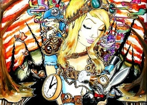 "Image of ""Alice in Steampunkland"" 20x30in Limited Edition Print"