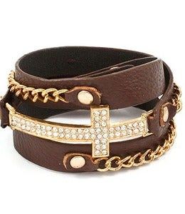 Image of LEATHER CROSS BRACELET
