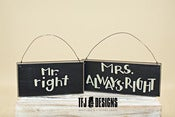 Image of Mr Right &amp; Mrs Always Right - Wooden Signs - Engagement Couple